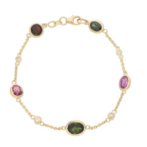Tourmaline, Garnet and Diamond Spectacle Bracelet in 18k Gold