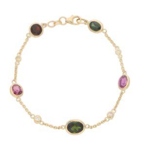 Tourmaline, Garnet and Diamond Spectacle Bracelet in 18k Gold