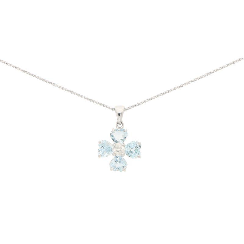 Floral Aquamarine and Diamond Pendant Set in 18k White Gold