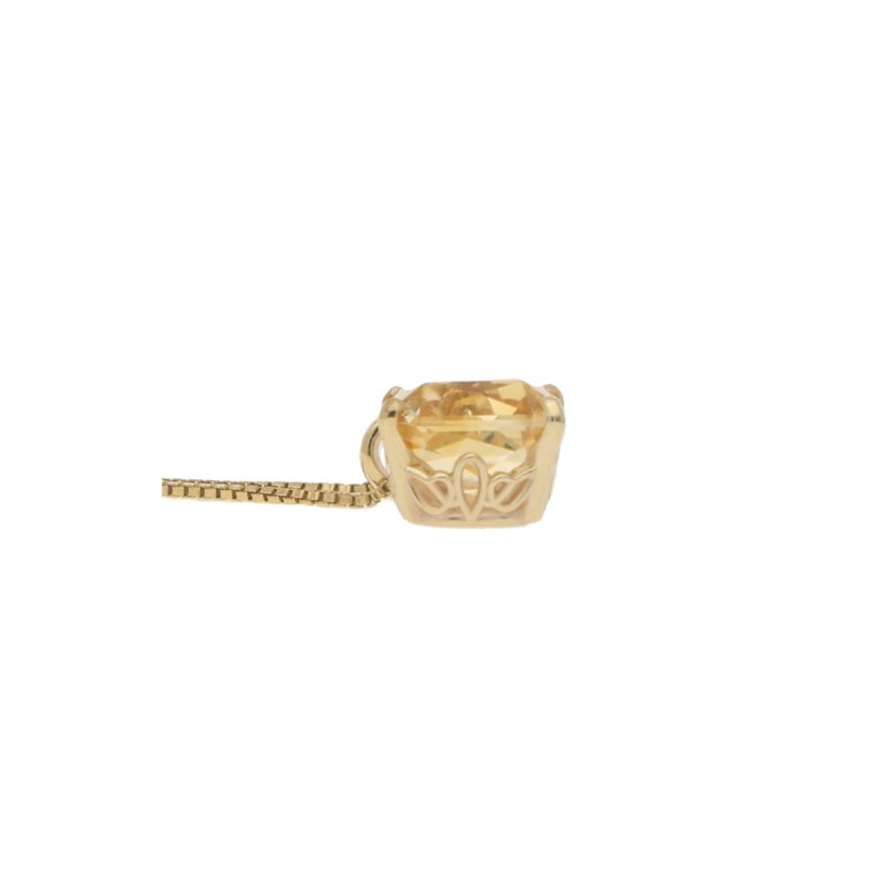 Radiant Cut Citrine Pendant in 18k Yellow Gold