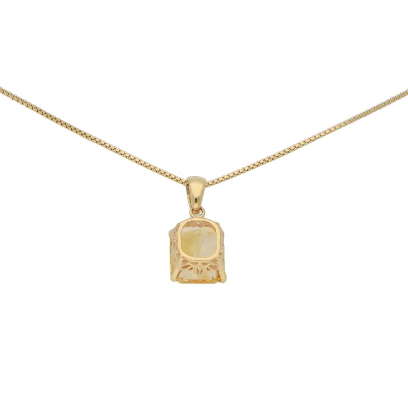 Radiant Cut Citrine Pendant in 18k Yellow Gold