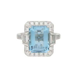 Octagonal Aquamarine Cluster Halo Ring Set in Platinum