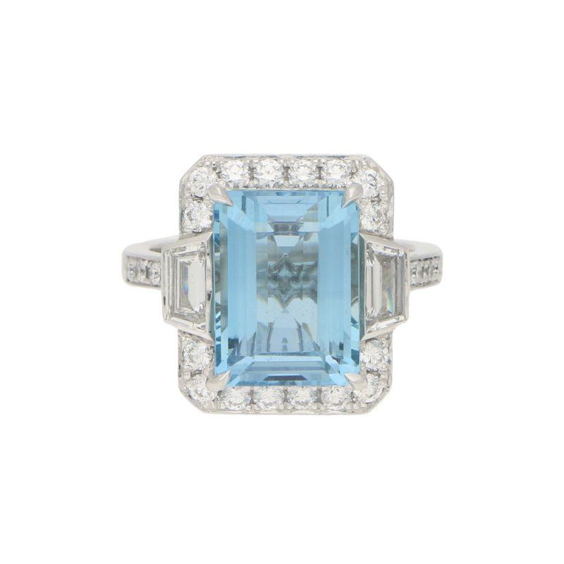 Octagonal Aquamarine Cluster Halo Ring Set in Platinum