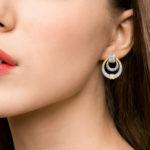 Diamond Door Knocker Drop Earrings Set in 18k White and Yellow