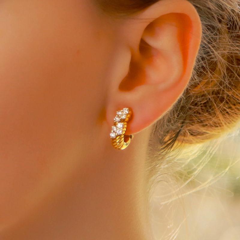 Boucheron Diamond Clip Stud Earrings in 18k Yellow Gold