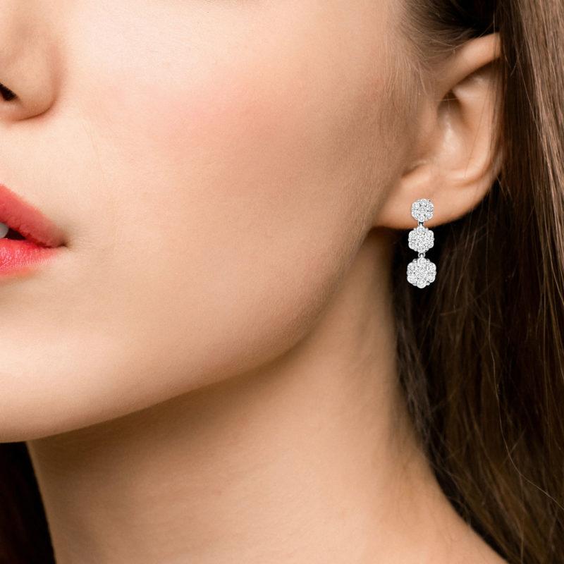Diamond Triple Cluster Drop Earrings in 18k White Gold