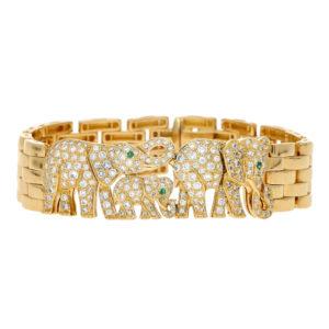 Cartier Diamond and Emerald Elephant Maillon Panthère Bracelet