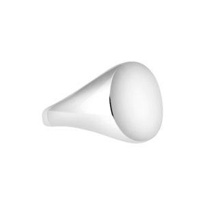 9k white gold Oxford Oval Signet ring