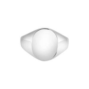 9k white gold Oxford Oval Signet ring
