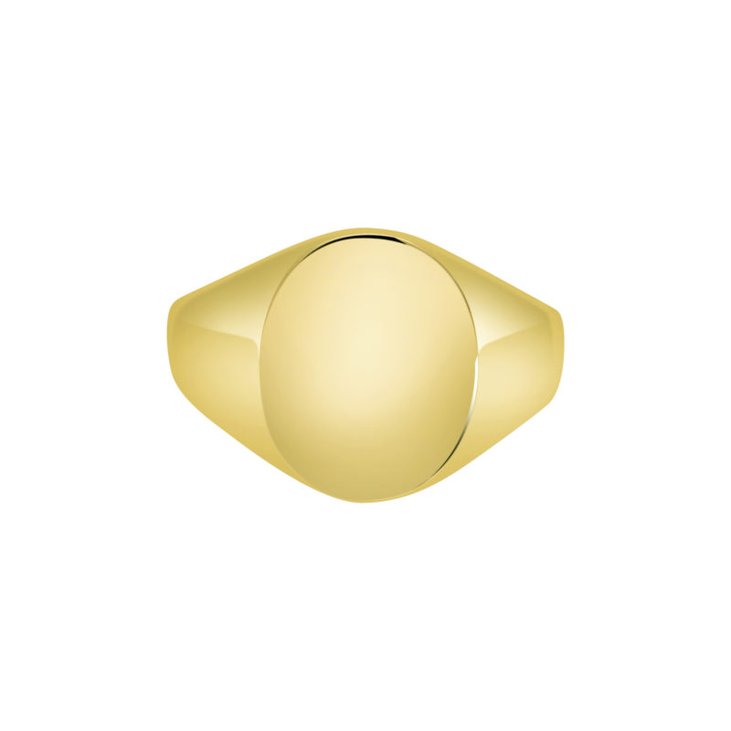 9k yellow gold Oxford Oval Signet ring