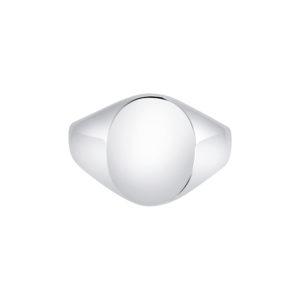 18k white gold Oxford Oval Signet ring