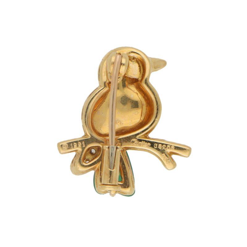 Cartier Chalcedony, Diamond, Ruby and Onyx Bird Brooch