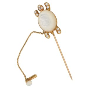 Mauboussin Moonstone and Diamond Stick Pin Set in 18k Gold