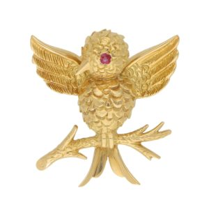 Tiffany & Co. Ruby Eyed Bird on Branch Brooch Set in 18k Gold