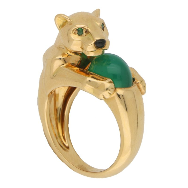 Panthère de Cartier Chalcedony, Emerald and Onyx Panther Ring