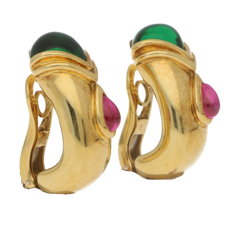 Adler Etruscan Green and Pink Tourmaline Clip Earrings
