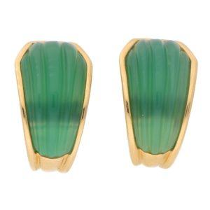 Boucheron Green Chrysoprase Clip On Half Hoop Earrings