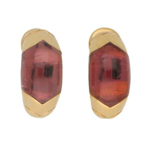 Bvlgari Tronchetto Pink Tourmaline Clip Earrings Set in 18k