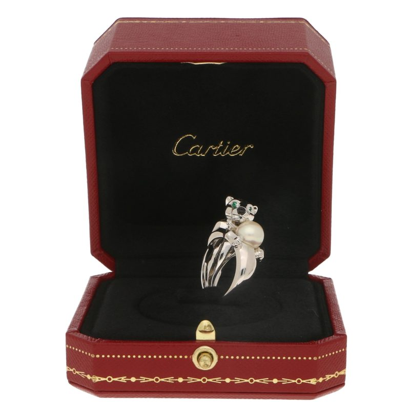 Cartier Panthere Pearl Ring in 18k White Gold