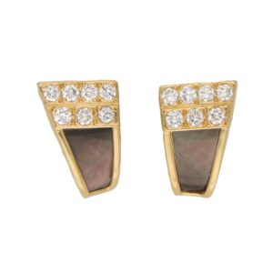 Van Cleef and Arpels Black Mother-of-Pearl and Diamond Studs