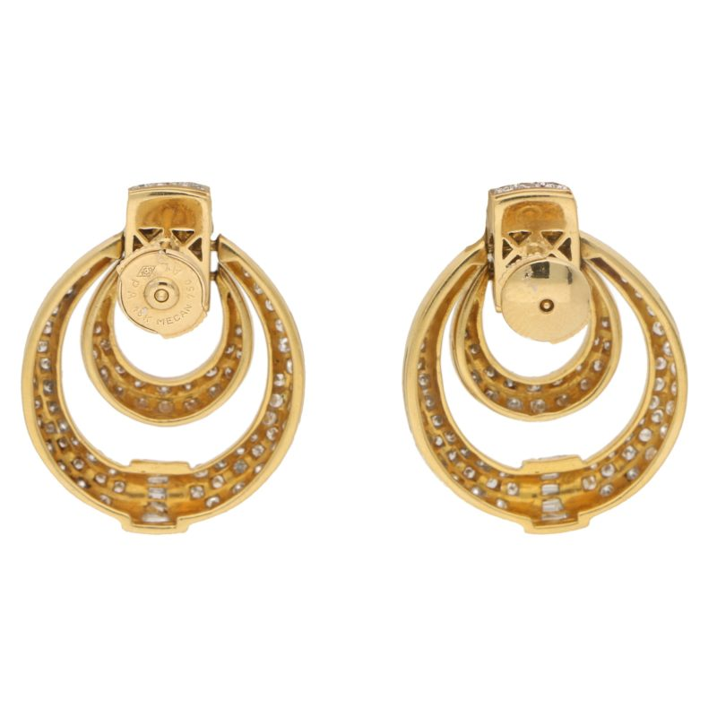 Diamond Door Knocker Drop Earrings Set in 18k White and Yellow
