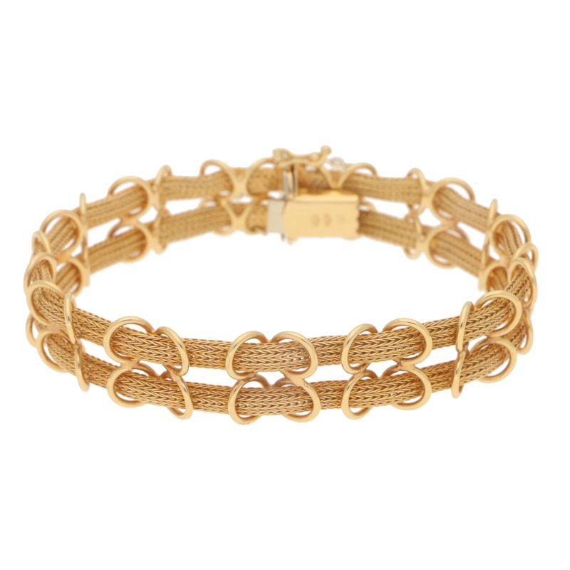 Filippini Fratelli Double Woven Chain Bracelet in Yellow Gold