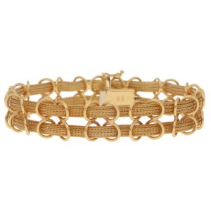 Filippini Fratelli Double Woven Chain Bracelet in Yellow Gold