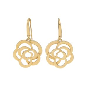 Chanel Camellia Flower Drop Earrings in 18k Yellow Gold