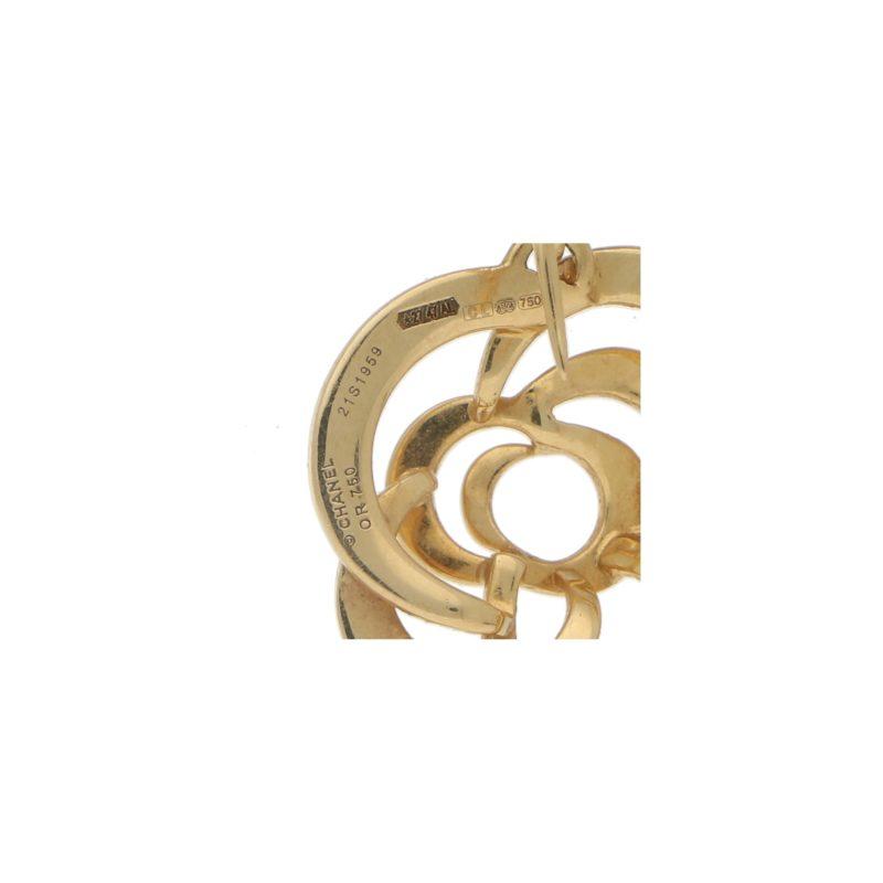 Chanel Camellia Flower Drop Earrings in 18k Yellow Gold