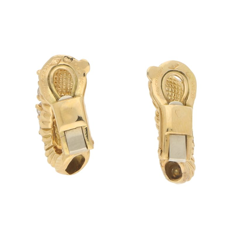 Boucheron Diamond Clip Stud Earrings in 18k Yellow Gold