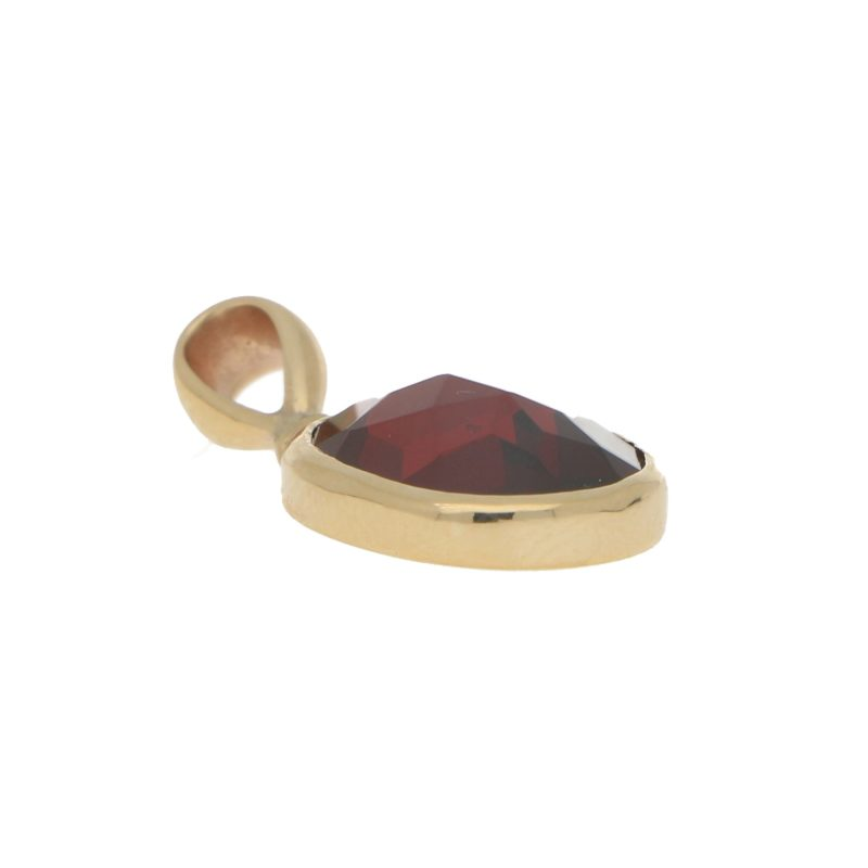 Round Red Garnet Pendant Set in 9k Yellow Gold