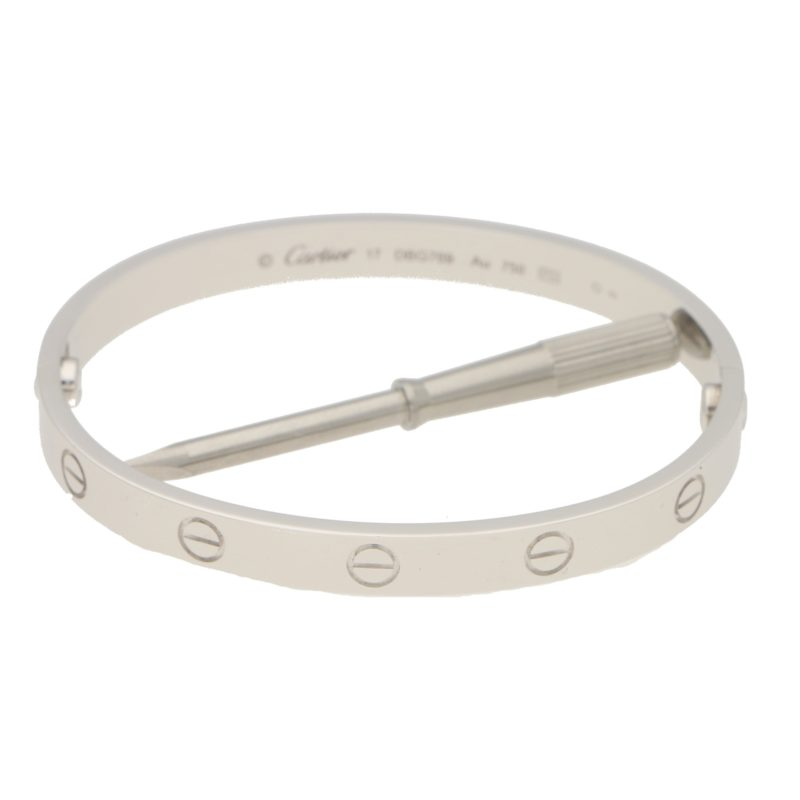 Cartier White Gold Love Bangle Size 17