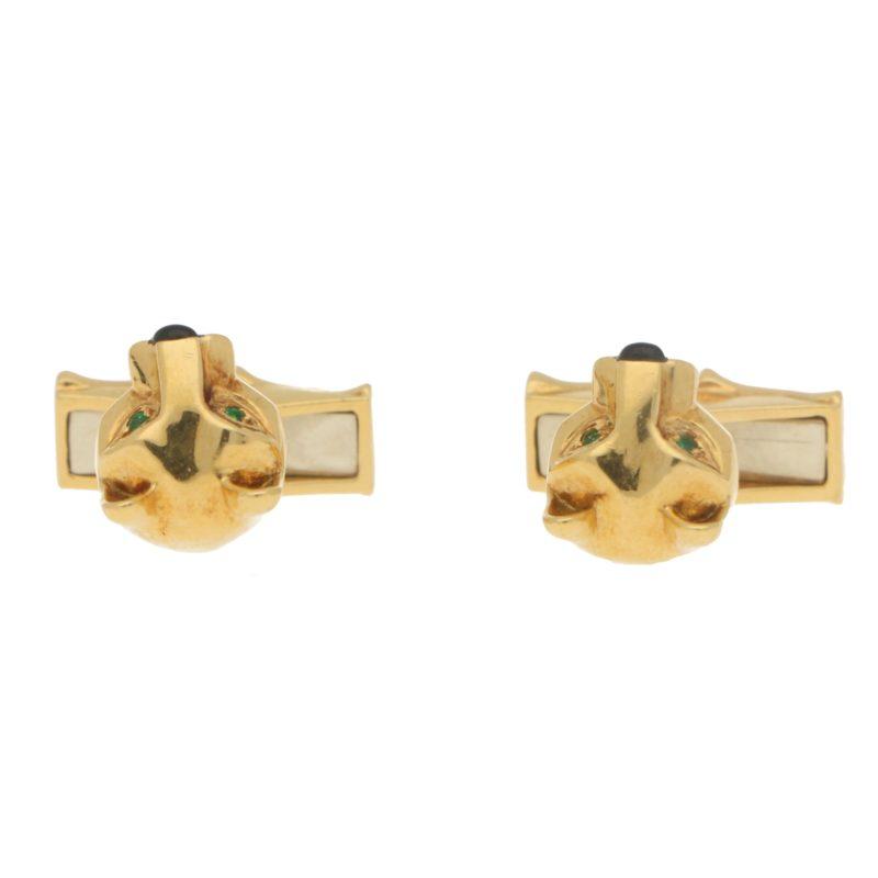 Panthère de Cartier Swivel Bar Cufflinks in 18k Yellow Gold