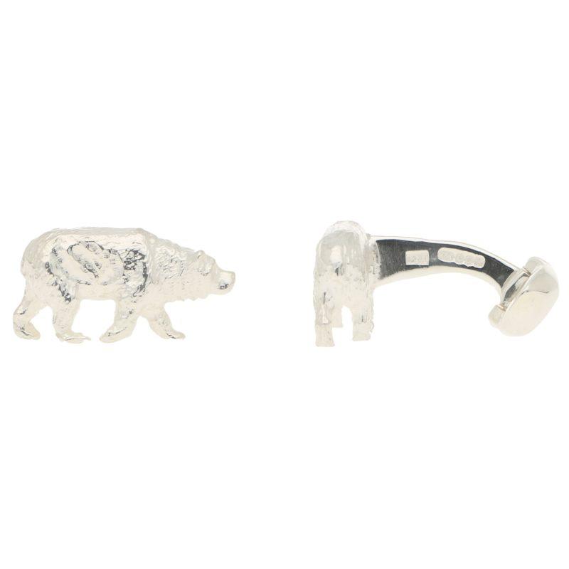 Bear Swivel Cufflinks in Solid British Sterling Silver