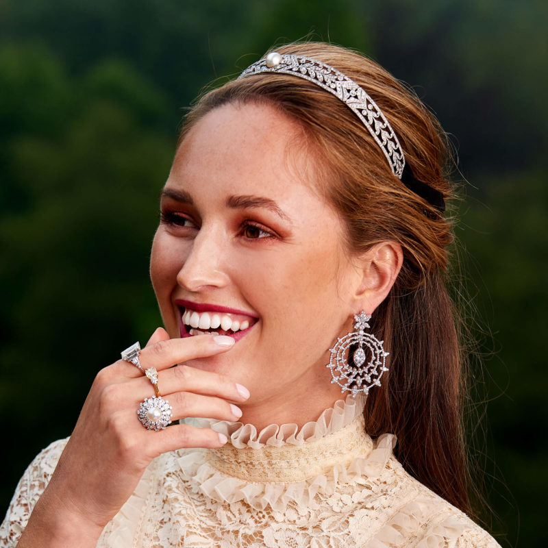 Art Deco Convertible Diamond and Natural Pearl Tiara Choker