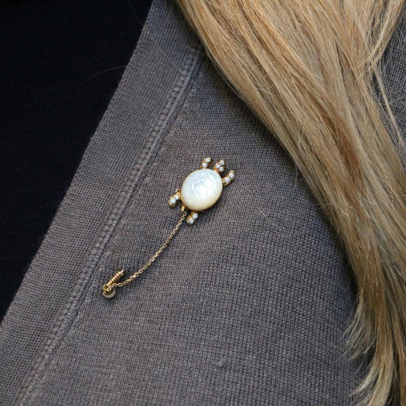 Mauboussin Moonstone and Diamond Stick Pin Set in 18k Gold
