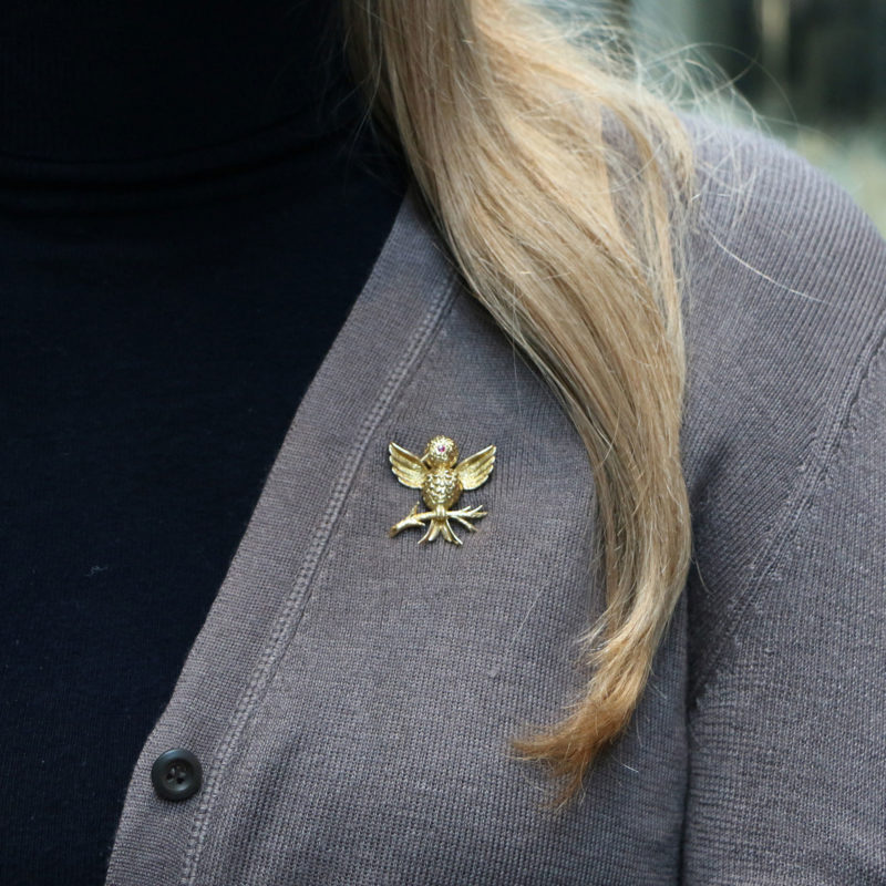 Tiffany & Co. Ruby Eyed Bird on Branch Brooch Set in 18k Gold