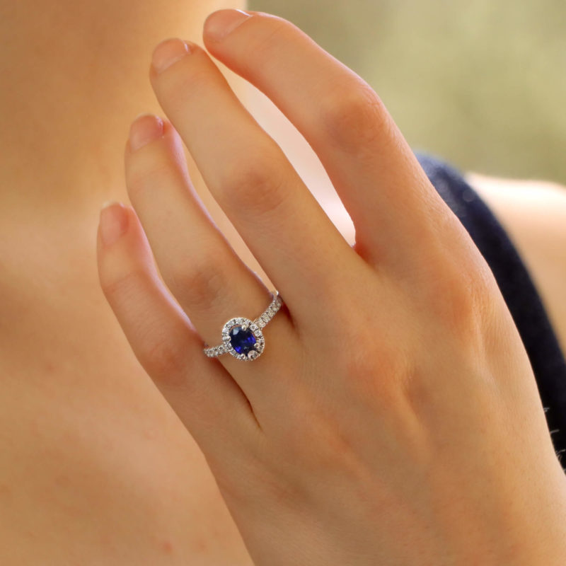 Sapphire and Diamond Halo Cluster Ring in White Gold