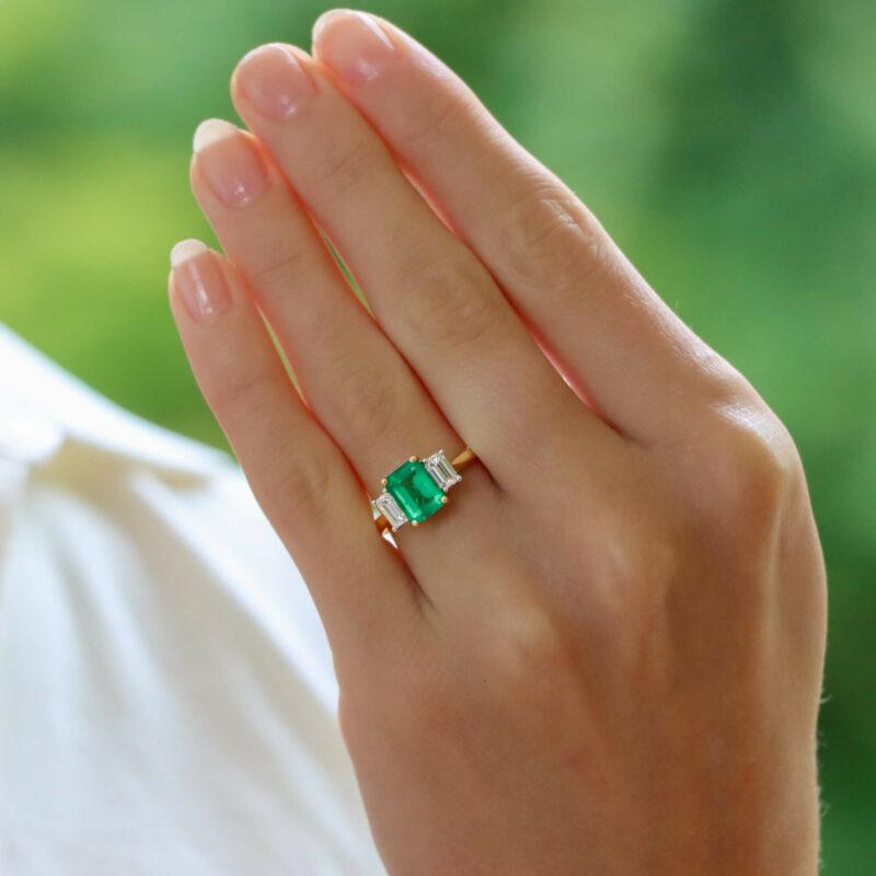 Emerald and Diamond Three Stone Engagement Ring