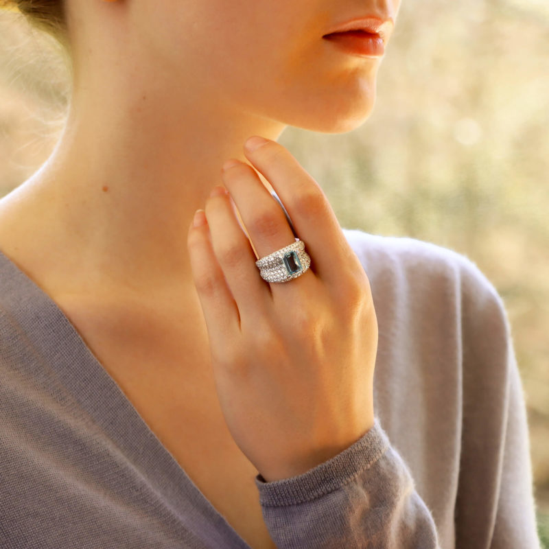 Emerald Cut Aquamarine and Diamond Bombe Ring in White Gold