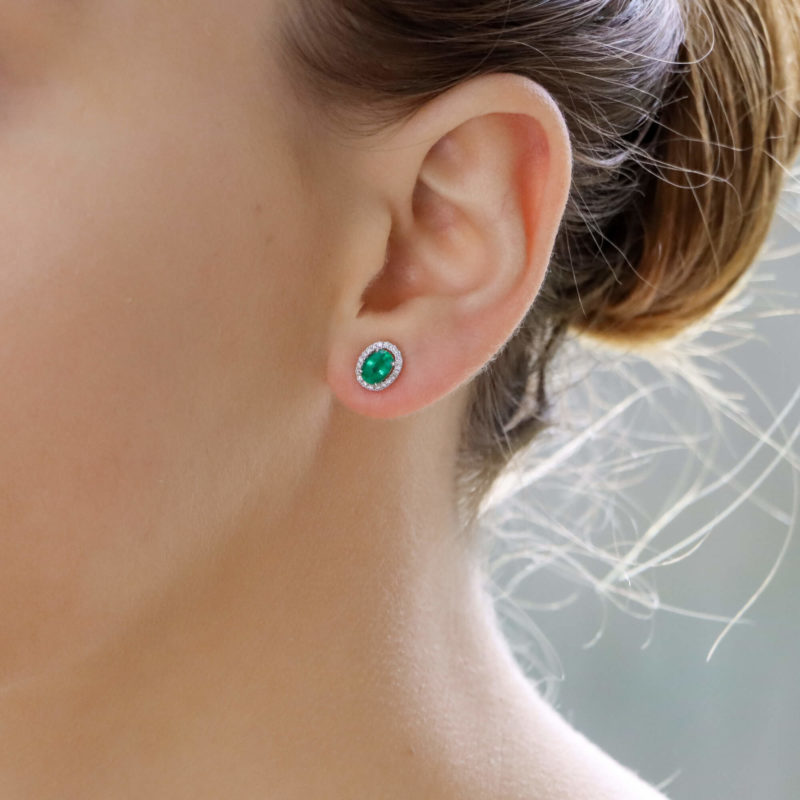Emerald and Diamond Cluster Earrings in White Gold