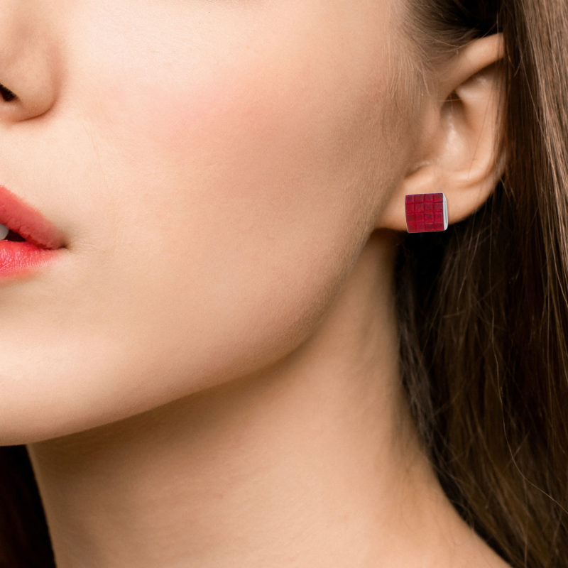 Ruby Square Earrings in 18k White Gold