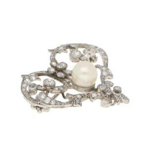 Edwardian Pearl and Diamond Openwork Heart Brooch in Platinum
