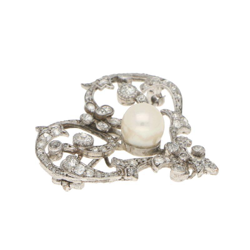 Edwardian Pearl and Diamond Openwork Heart Brooch in Platinum