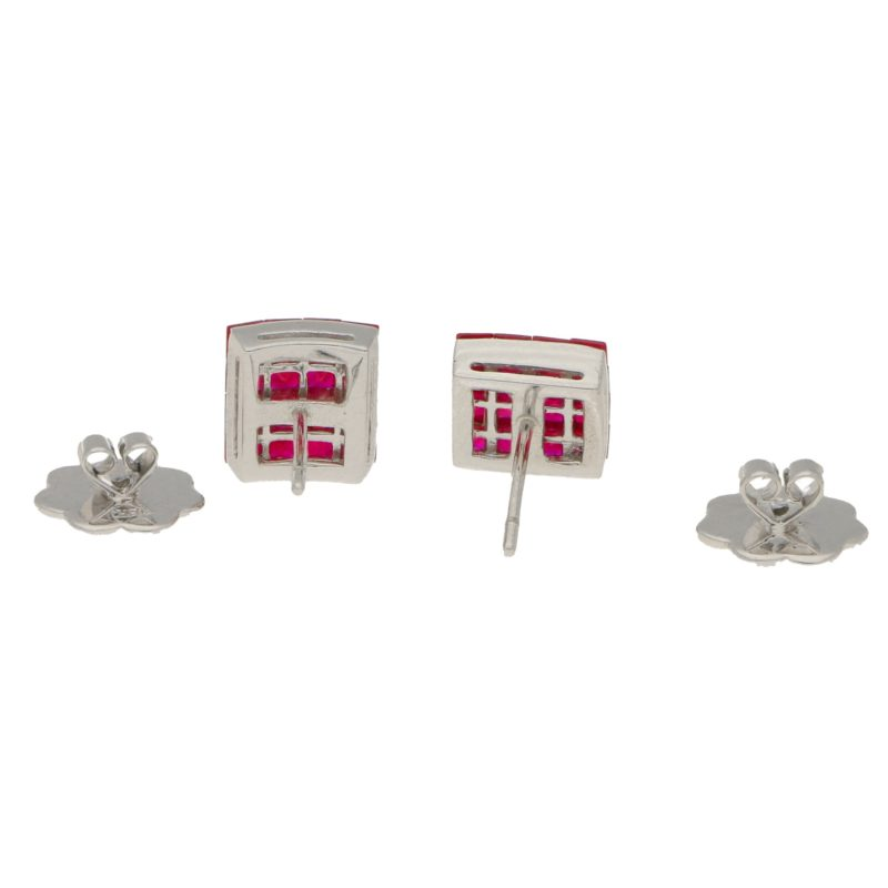 Ruby Square Earrings in 18k White Gold