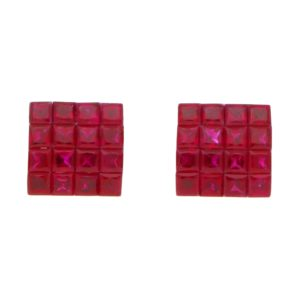 Invisibly-Set Ruby Squared Stud Earrings in 18kt White Gold