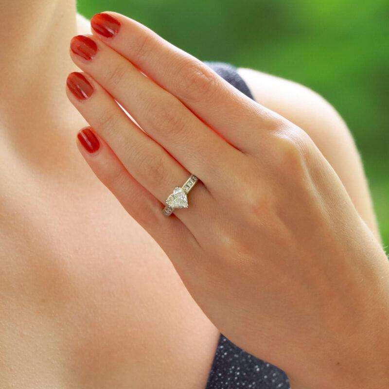 Heart and Princess Cut Diamond Engagement Ring