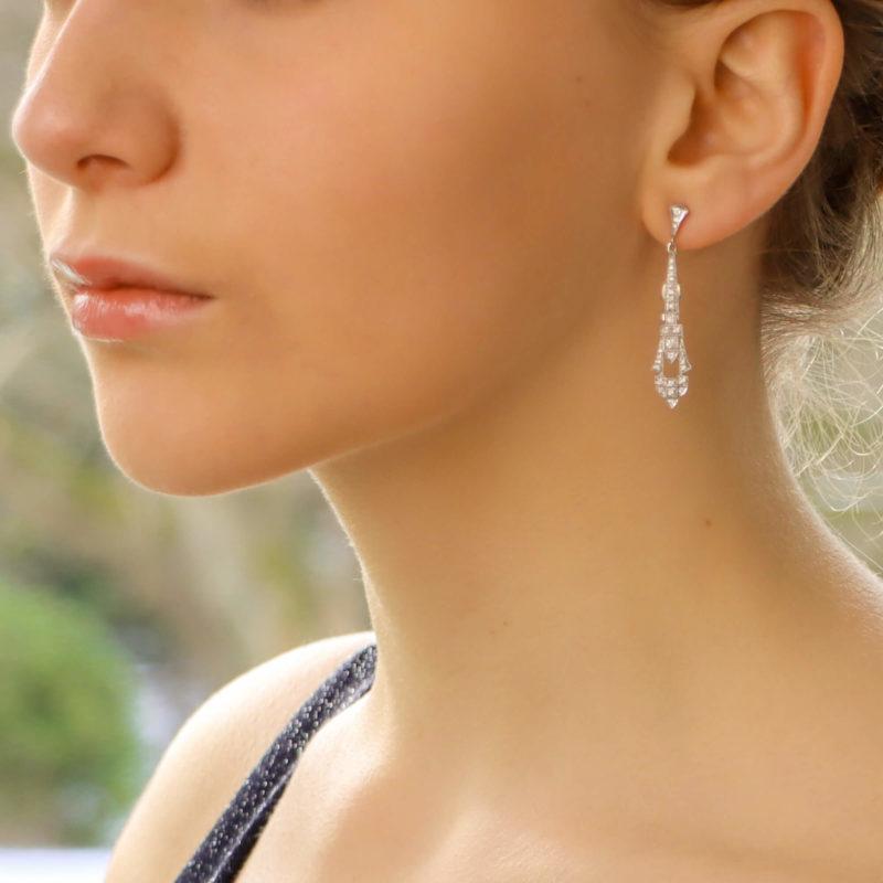 Art Deco style diamond drop earrings