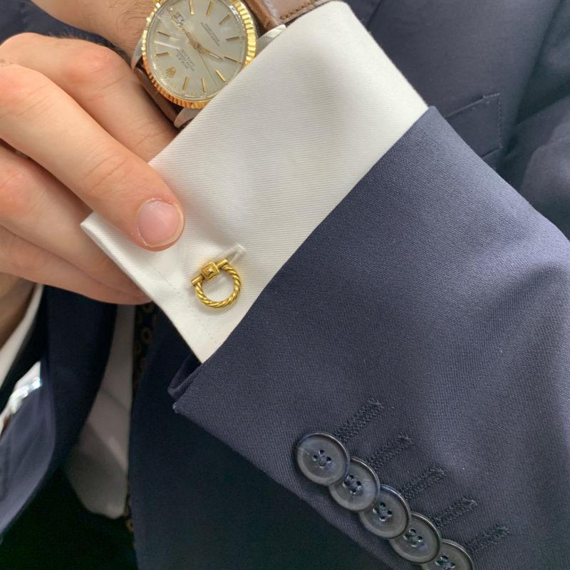 A pair of ropework gold cufflinks