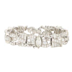 Art Deco Inspired Marquise Diamond Bracelet in White Gold
